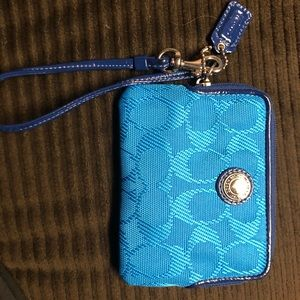 Coach wristlet blue and pink
